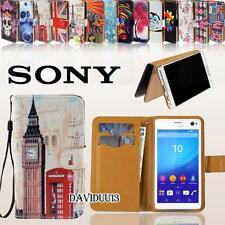Folio Flip Wallet Card Stand Leather Case Cover For Various Sony Xperia Phones
