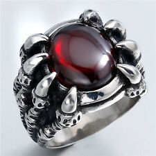 SZ 8 to 13 Mens Solid Dragon Claw Ruby Red CZ 316L Stainless Steel Biker Ring