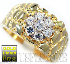 Seven Clear CZ Stones 0.16ct Nugget 18kt Gold EP Mens Ring