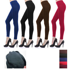 Womens Fleece Lined Leggings Thick Tight Warm Thermal Winter Footless Long Pants