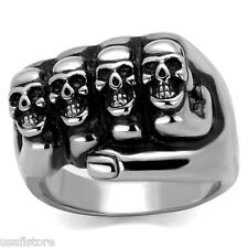 Five Fingers Four Skulls Epoxy Black Silver Stainless Steel Mens Ring