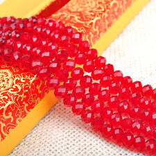 20-100Pc Red Rondelle Faceted Crystal Glass Spacer Loose Bead Finding DIY 4-10mm