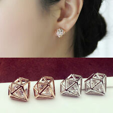 Fashion Jewelry Hollow 3D Rhombus Crystal Rhinestone Earrings Pierced Ear Stud