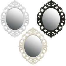 Small Ornate French Style Bedroom Hallway Oval Wall Mirror White/Cream/Black