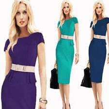 Women Celeb Wear To Work Office Slim Bodycon Evening Party Cocktail Pencil Dress