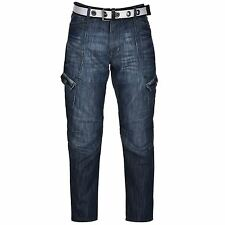 Airwalk Mens Belted Cargo Jeans Straight Fit Belt 6 Pockets Denim Trousers Pants