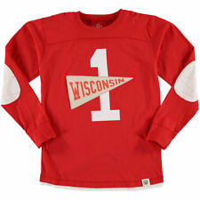 Youth Wes & Willy Red Wisconsin Badgers Pennant Jersey Long Sleeve T-Shirt
