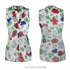 LADIES WOMENS FLORAL CASUAL CHIFFON SUMMER VEST TOP SLEEVELESS BLOUSE 10-16