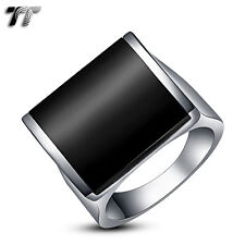 High Quality TT 316L Stainless Steel Ring Black Onyx Size 6-12 (RZ26)