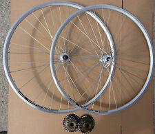 700c Silver Double Wall Road Bicycle Sports Bike Wheelset QR Shimano 6 / 7 Speed