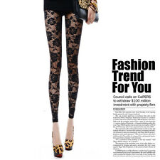 High Quality Fashion Sexy Women Lady Rose Lace Through Leggings Pants Footless