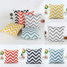 Zig Wave Stripes Cotton Pillow Cases Sofa Home Decor Throw Square Cushion Covers