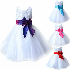 Cute Girls Rose Bow Dress Flower Princess Formal Party Wedding Bridesmaid 3-10Y
