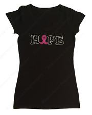 "Women's Rhinestone T-Shirt "" Hope Pick your Color Ribbon  in S, M, L, XL, 2X, 3X"