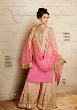 PINK BEIGE DESIGNER PALAZZO Embroidered Salwar Kameez Indian Suit-Nakkashi-11019