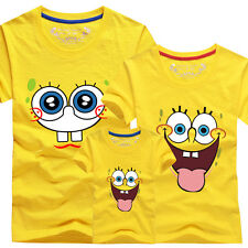 Family fitted Father mother baby summer clothes for Sponge Bob lovers T-shirt