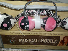 NEW K IRELAND CRIB MOBILE BALLS BLACK HOT PINK WHITE MADISON MUSICAL POLKA DOTS