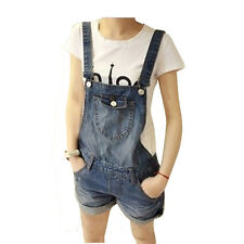Women Jeans Jumpsuit Washed Denim Casual Hole Overalls Romper Short Casual Pants