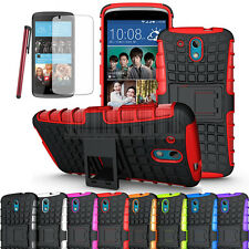For HTC Desire 526G Rugged Armor Hybrid Case Stand Hard Protective Cover+Film