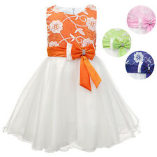 Girls Embroidered Floral Sleeveless Formal Prom Party Dress Wedding Bridesmaid