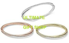NEW MICHAEL KORS CRISSCROSS STAINLESS STEEL CRYSTAL PAVE WOMEN BANGLE BRACELET