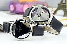 NEW Triangle Analog Quartz Leather Band Stainless Steel Women Mens Wrist Watch