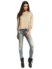 Anladia Womens Stone Wash Ripped Pipe Denim Skinny Jeans Low Waist Pants AU 6-14