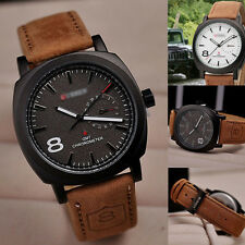 New Men's Fashion Sport Military Quartz Leather Watch Wrist Strap Watches Gift