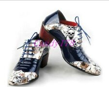 Men's England Formal Print Skull Shoes Lace Up Business Oxfords Dress Shoes Size