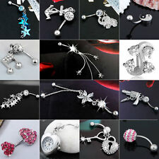 316L Steel Stainless Rhinestone Crystal Dangle Navel Belly Barbell Ring Bar love