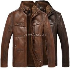 Men's Fashion Sheepskin Leather Fur Lined Jacket Stand Collar Warm Zipper Coats