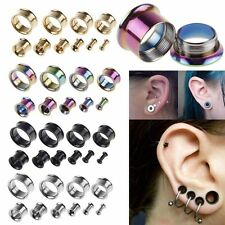 2 x Steel Double Flare Hollow Tunnels Ear Plug Gauges Flesh Earlet Stretcher