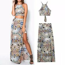 New Womens Ladies Fashion Paisley Print Crop Tops and High Waist Maxi Skirt Set