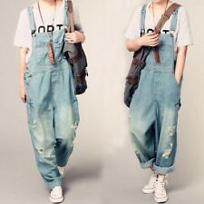 Newest Large Loose Womens Denim Jumpsuits Overalls Casual Wide Leg Fashion Pants