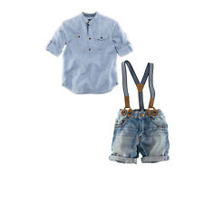 2PCS Kids baby boys Short sleeve shirt + braces jeans outfits kid boys Clothing