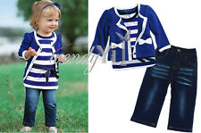 3pc Baby Girl Kid Coat Jacket Top T-shirt Jeans Pants Outfit Clothing Set 12M-5T