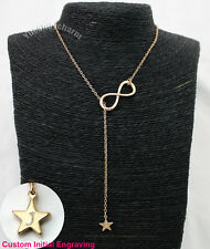Personalized Custom Initial Engraving Infinity Lariat Star Gold Plated Necklace
