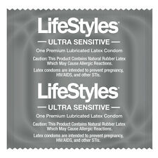 LIFESTYLES ULTRA SENSITIVE CONDOMS LATEX LUBRICATED CONDOM PACKS OF 2 - 100