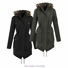 LADIES NEW WOMENS FUR HOODED JACKET PADDED PARKA DIAMOND QUILTED SLEEVES COAT