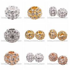 2x Clear Crystal Rhinestone Copper Charms Beads Fit European Bracelet 4 Colors L