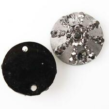 Hot Gunmetal Half Round Faceted Sew-on Resin Flatback Beads Embellishments 14mm