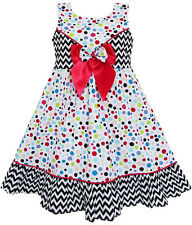 Girls Dress Sleeveless Polka Dot Bow Tie Striped Black Wave Size 4-14
