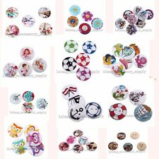 50pcs Lots Mixed Color Cute Patterns Wooden Sewing Buttons Fit DIY Handcrafts L