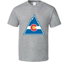 COLORADO ROCKIES DEFUNCT OLD TIME NHL HOCKEY GRAY T-SHIRT NEW