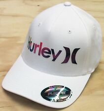 Hurley One and Only Art FlexFit Hat White Cap with Purple Logo