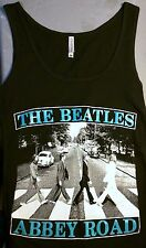 BRAND NEW THE BEATLES BLACK LADIES TANK BLUE LETTERS THE BEATLES ABBEY ROAD