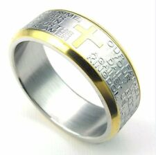 Bible Lord's Prayer Ring Wedding 316L Stainless Steel Size 7-13