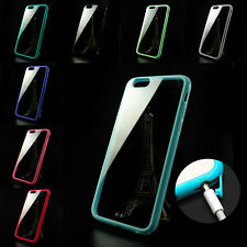 Soft Colorful TPU Bumper + Transparent PC Hard Back Case Cover For iPhone 6 4.7""