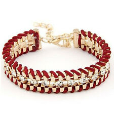 Fashion Cuff Jewelry Charm Alloy Bangle Woven Leather Rhinestone Thick Bracelet