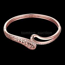 NEW Bracelet 18K Gold GP Crystal CZ Hollow Bangle Wrist Jewellery Women Gift